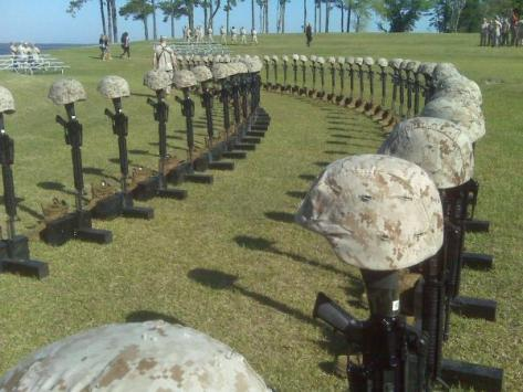 The 90 Marines and Sailors killed in the last 12 months in Afganistan. The picture says it all!